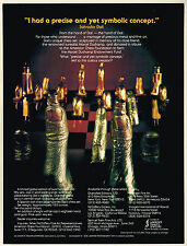 1970s Vintage Salvador Dali Surrealist Chess Set Game Pieces Art Photo Print Ad