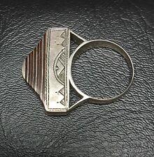 Indigenous to Sahara Desert Size 10 Old Tuareg Hand-crafted Silver & Ebony Ring