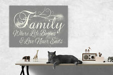 Family Wall Picture Where Life Begins...Quote Grey Wall Canvas Print A1/A2/A3