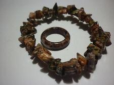 cristalloterapia BRACCIALE DIASPRO LEOPARDO + ANELLO braccialetto cristallo bio