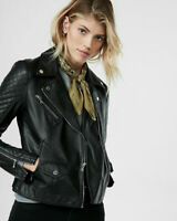 Womens Black Leather Jacket Biker Motorcycle Quilted Lambskin Size S M L XL G3