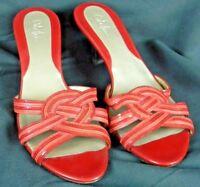 Cole Haan Shoes Sz 9 AA Women's Red Woven Leather Slide Sandal Kitten Heel