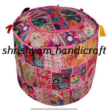 "18"" Decorative Round Pouf Cover Indian Patchwork Ottoman Cotton Ethnic Pouffe"