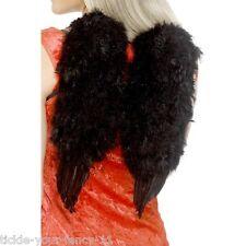 Da Donna Nero in piuma con ali d'angelo FANCY DRESS Hen Night HALLOWEEN COSTUME DIAVOLO
