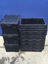 More details for 6 x 60ltr heavy duty plastic storage tote boxes 60 x 40 x 30cm alc folding lid