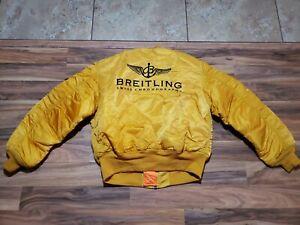 Alpha Industries Breitling Swiss Chronographs Gold MA1 Jacket Sz L