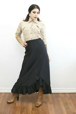 1970s Vintage - Black A-Line Ankle Length Ruffle Skirt - Size Small