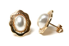 9ct Gold Pearl Oval Studs earrings Made in UK Gift Boxed
