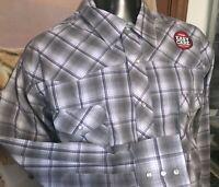NWT new WRANGLER Purple gray Plaid Pearl Snap WESTERN SHIRT men Big 3XL cowboy