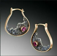 925 Silver Ruby Amber Sapphire Earrings Moonstone Turquoise Ear Hook Drop Dangle