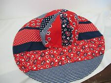 BETMAR VINTAGE HAT CLOTH RED WHITE BLUE FLOPPY WIDE BRIM PAISLEY  DOTS CHECKS