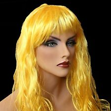 "18""Long Golden Yellow Synthetic Curly Wavy Hair Wig for Cosplay Party FancyDress"