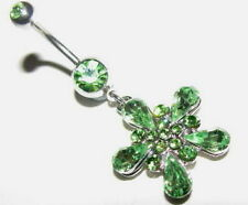 Belly Bar Dangle Green flower14g 316 Stainless Steel