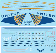 1/144  UNITED AIRLINES LIVERY BOEING 787  DECALS TB DECAL TBD154