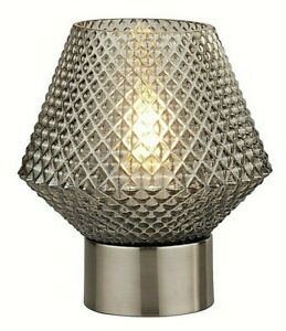 Lighting Collection Chrome Table Lamp with Smoked Diamond Shaped Textured Glass