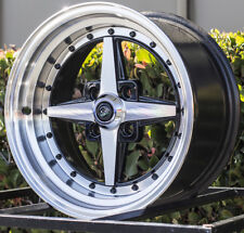 15x8 Rota ZERO Plus 4x100 +20 Full Royal Black Wheels (Set)