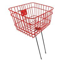 Sunlite Wire Steel Front Bicycle Basket With Struts Red Carrier Steerer Pets