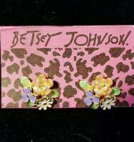 New Betsey Johnson Rare Alloy Rhinestone Enamel Flower Earrings Fashion Jewelry
