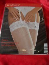 Linia Femina sexy Strapsstrümpfe Nylons m. Spitze weiß 41-42 Bas Stockings OVP