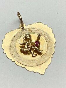 14K 545 Yellow GOLD 3D Heart DETAILED SOLID ANGEL CHERUB CHARM PENDANT