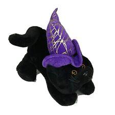 Ganz Scardy Cat Plush Stuffed Animal Halloween Black Purple Witch Hat 9 inch