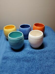 5-Vintage Ribbed Stangl Tumblers Orange, Blue, Yellow, Green, and White