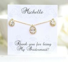 Yellow Gold Bridesmaid Jewelry | Personalized Bridesmaid Gifts | Wedding Jewelry