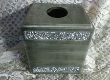 Tissue Box Cover Square Decorative Holder Bathroom Hand Painted India Ink