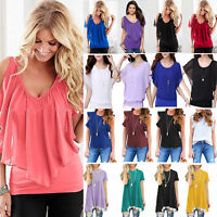 Womens Casual Short Sleeve Tee Shirts Tops Summer Plain OL Work Blouse T-shirt