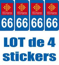 4 STICKERS PLAQUE IMMATRICULATION DEPARTEMENT 66 REGION OCCITANIE
