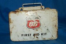 1960s Vintage Gas Oil Service Filling Station Phillips 66 Metal First Aid Kit