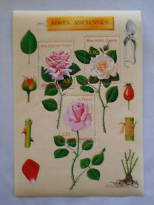 France 1999 Bloc Feuillet NEUF 3 timbres stamps souvenir sheet Roses Anciennes