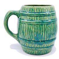 Nelson McCoy Mug 4 Green Glazed Barrel Banded Vintage 5 Tall