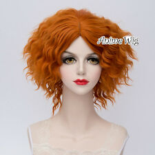 Orange Short Layered Curly Hair For Mad Hatter Women Girl Anime Cosplay Full Wig
