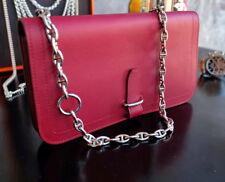 HERMES Long Bifold long wallet purse Swift Rubis leather small evening bag