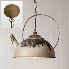 Vintage Rustic Distressed White Metal Kettle Pendant Hanging Light Fixer Upper