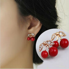 1 Pair Cute Casual Fashion Women Enamel Cherry Drop Earrings Dangle Stud Gift