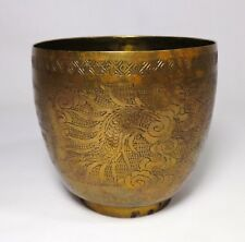 Early 20Th C Antique Chinese Hand-Crafted Engraved Brass Cup W/Calligraphic Font