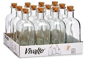 Set of 12 Large Square Glass Bottles & Cork Clear Perfume Liquor Bottles 500ml