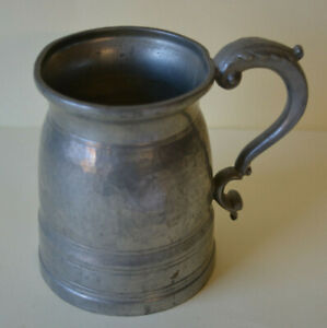 """""""The Last Drop"""" English Pewter Tankard Glass Bottom Hammered Pewter Sheffield"""