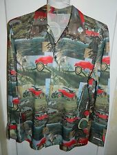 VTG 1913 Buick Model 25 Pattern Men Button Front Shirt Styled in California M-L