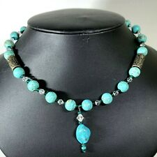 Faux Turquoise Dyed Howlite Necklace w Drop & Crystal Spacers Silver Tube Beads