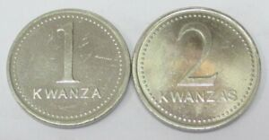 ANGOLA 2 COINS ONE AND TWO KWANZAS 1999 KM 97/98