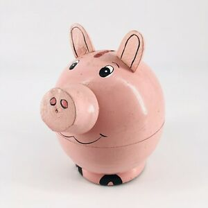 Vintage Hand Painted Wooden Pink Pig Coin Bank with 10 Mini Pig Figurines