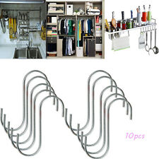 10 PCS Hanger Hanging S Hooks Stainless Steel Utensil Kitchen Meat Pan Clothes