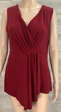 JACQUI E size L red stretch sleeveless v-neck soft drape tunic top front pleats