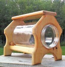 Table top, Ground gallon glass jar squirrel feeder, square cedar wood, Tbnup #1T