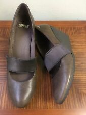 Camper Brown Leather Mary Jane Wedge Pump Shoes Elastic Band Sz 41 US 11