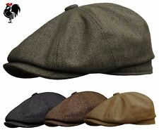 ROOSTER WOOL TWEED HERRINGBONE NEWSBOY GATSBY CAP GOLF DRIVING IVY HAT BROWN
