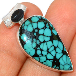 Spider Web Turquoise from Tibet & Black Onyx 925 Silver Pendant Jewelry BP48119